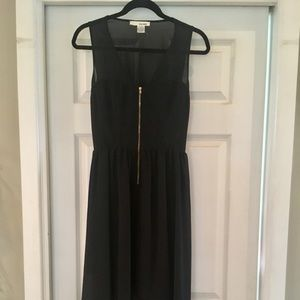 Black open back zip front high low midi dress